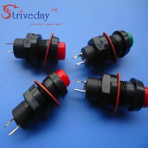100 unids / lote 10 MM rojo verde Autoblocante Mini interruptor de botón DS-211 interruptor de alimentación botón Aplicable a la lámpara de mesa del coche electrónica DIY