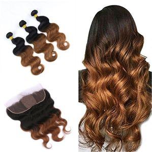 متوسطة أوبورن 1B 30 الجسم موجة الشعر البشري ينسج مع الدانتيل أمامي أومبير الحرير قاعدة 4x4 الرباط أمامي مع الشعر اللحمة التمديد