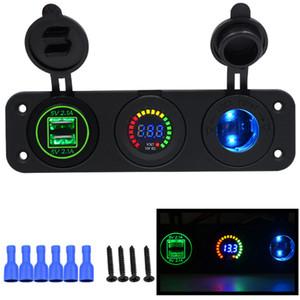 Cargador de automóvil Enchufe de la motocicleta Adaptador doble USB + 12V / 24V Encendedor de cigarrillos Azul LED + Voltímetro digital