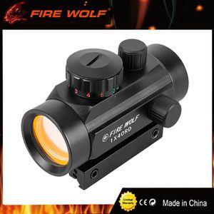 حريق الذئب 1x40 الصيد التكتيكية المجسم riflescopes الأحمر الأخضر النقاط البصرية البصر نطاق تعديل بندقية بندقية نطاق