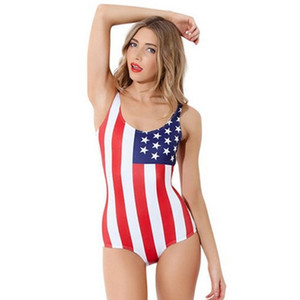 2017 Belly Thin Swimsuit Swimwear American Flag Swimsuit Women Black Bathing Suit Smart Sexy Bikini One Piece Beachsuit Wholesale