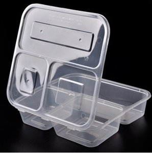 Plastica usa e getta di cibo Box 3 Vano pranzo Holder Bento Fast Food Take Out Contenitori