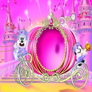 비닐 키즈 만화 사진 배경 공주 소녀 핑크 캐리지 Backdrops 어린이 신생아 아기 생일 파티 사진 배경