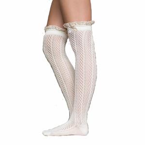 Al por mayor-primavera otoño botón de encaje medias de algodón muslo de alta media para mujeres niñas sexy hueco sobre la rodilla calcetines de la venta caliente