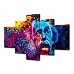 Großhandel Neue Ankunft 5 Panels abstrakte Einstein Porträt HD Leinwand Bilder für Wohnzimmer Dekoration Hängen Gemälde Kein Rahmen