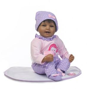 Poupées afro-américaines noires 22 pouces réalistes bébé rené Silicone vinyle poupée GirlSilicone Body Reborn bébé 22 pouces