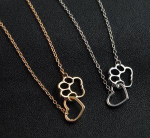 여성 패션 애완 동물 애인 개 고양이 발 펜던트 사랑의 하트 골드 / 실버 초커 목걸이 간단한 문 목걸이를 인쇄