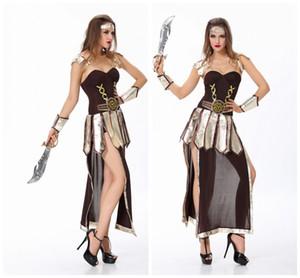 Brave Costume de Gladiateur Romain Ensemble Chevalier Médiéval Halloween Femmes Guerrier Dress Up Role Play Vêtements Accessoires Soldat Romain Robe