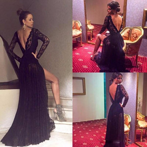 Sexy Robe de soiree Black Lace V Neck Long Prom Dresses Cheap Backless Long Sleeves Evening Party Formal Gowns