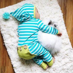 Mamelucos a rayas recién nacidos bebés niños niñas súper linda ropa de la raya con capucha mameluco del traje de los niños traje de mono