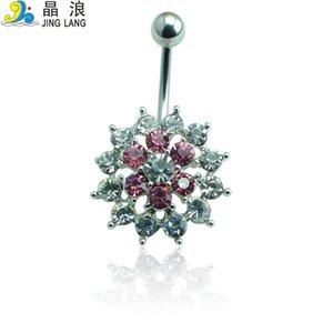 Popular! Diy de alta qualidade moda prata aço cirúrgico rosa strass flor umbigo piecing anel para mulheres body jewelry