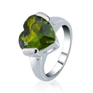 Matrimonio Love Heart Ring Sterling Silver Peridot Ametista Granato Sparkle Gemstone Prom Dresses Eternity Ring Taglia 7 8 BJZ60207