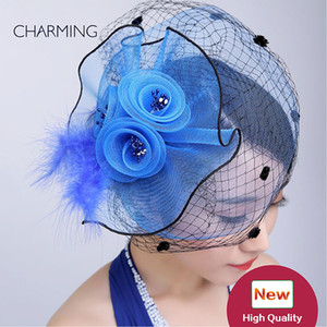 Blue hats for weddings British wedding hats Mesh and feather material Occasion Elegant hats for wedding