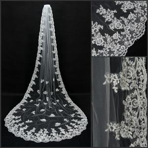 Veu De Noiva Longo 3 Mètres Appliqued bordure en dentelle Bridal Veil Blanc d'Ivoire Accessoires de mariage cathédrale de mariage Veil CPA066