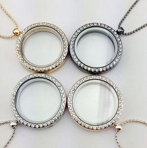 Nuevo medallón colgante flotante collar de las mujeres magnética Living Glass Glass Locket flotante de la memoria con las cadenas del grano DIY collares 4 colores