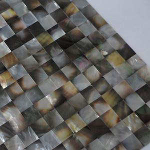 [Бесплатная доставка] Натуральный цвет 20 мм х 20 мм перламутр мозаики оболочки, сетки покровитель, Blacklip оболочки плитки, бесшовные (MS150)