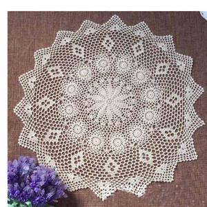 Gros-75CM 100% coton Beige / blanc à la main au crochet Doilies plat tapis plats chauds