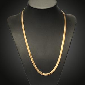 """Collar chapado en oro real de 18K con """"18k"""" sello de hombre joyería al por mayor nuevo collar de cadena de serpientes de moda de moda 18 '' - 28 ''"""