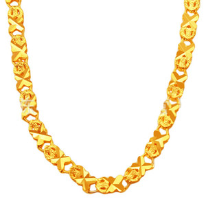 Womens Collar Chain Solid Necklace 18k Yellow Gold Filled fashion 18 pollici Accessori regalo vintage