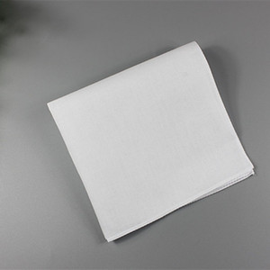 Чистый белый Hankerchiefs 100% хлопок платки женщины мужчины 28см*28см карманные площади свадебное равнина DIY печати рисовать платочки