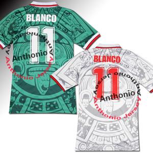 1998 멕시코 레트로 빈티지 BLANCO 태국 품질 축구 유니폼 유니폼 축구 유니폼 셔츠 자수 로고 camiseta의 푸 웃