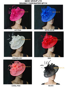 Nuovo arrivo Big base piatta con cappello di fascinator Sinamay con fiore di piuma per Kentucky derby festa di nozze chiesa