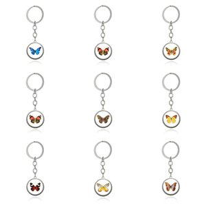 Hot sale Creative Butterfly Time Gemstone Key Chain Metal Glass Pendant Key Chain KR204 Keychains mix order 20 pieces a lot