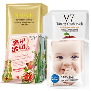 BIOAQUA Natural Extact Plant Ingredient Snail V7 Baby Skin Care Face Mask Moisturizing Hydrating Nursing Facial Mask 25g 30g Free Shipping