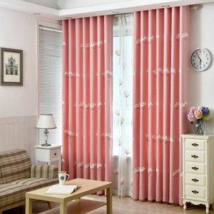 ¡En venta! Excelente Calidad Cortina de lino con flores bordadas Patrón Persianas de lujo 3d Rosa / Azul Blackout