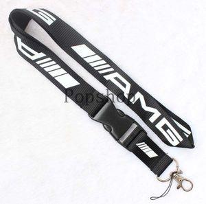 Yeni! AMG İpi Anahtarlık Anahtarlık Yaka Kartı cep telefonu sahibi Boyun Askısı siyah ve beyaz.