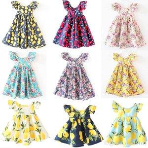 fleurs robe Ins Cherry Lemon fleurs impression dos nu Fille enfants robe de plage de style lolita mignon bébé robe d'été licou 11 couleurs