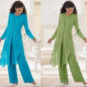 2019 Sıcak Satış Zarif Şifon Uzun Kollu Ile Jewel Boyun Ruffles Anne Gelin Pantolon Takım Elbise Anne Ceket ile Suits