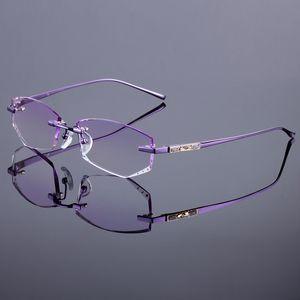 Gros-Titanium Alloy Glasses Frame Marque originale Femmes sans monture Cadres Diamant Découpage Cut Rimless Lunettes Avec Lentilles Teinte Gradient