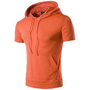 2017 yeni erkek kapşonlu cep kısa kollu yaz renk boyutu yüksek sokak hip-hop T-shirt spor ince giyim