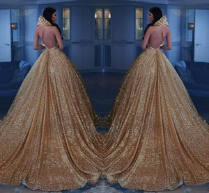 Gold Sequined Shinning Prom Dresses 2k17-2018 Sexy Deep V Neck Backless Evening Gowns Court Train Cocktail Party Vestidos Custom Made