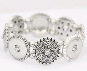 Placa Moda Mulheres snap pulseira de ouro branco Beads pulseira 18MM NOOSA segmenta snap botão Atacado Jóias