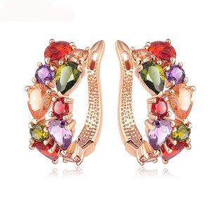 Top Vente Nouvelle Fleur Boucles D'oreilles Rose Or Couleur Multicolore Cubique Zircon Boucles D'oreilles pour les Femmes Bijoux Brinco CER0143