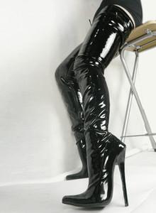 2017 классический 18 см высокие каблуки острым носом бедро высокие женские сапоги обувь женская партия вечерняя обувь скидка обувь онлайн плюс размер