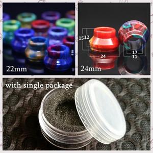 Resina Epoxi 22mm 24mm Universal Derlin Drip Tips Punta de goteo de diámetro amplio para RDA RBA Atomizer Vape Colorful Boquilla con paquete de metal individual