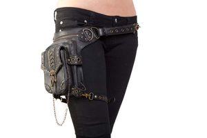 2017 новый стимпанк мешок пара панк ретро рок готический плеча талии сумки пакеты Викторианской бесплатная доставка