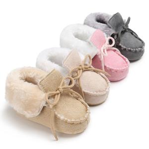 Eğlence kış sıcak çizme tutmak Yeni doğan bebek ayakkabıları düz renk kürk içinde dantel up ilk yürüteç yumuşak alt patik