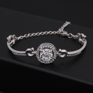 Romântico Bonito 18 K Banhado A Ouro de Cristal Austríaco Prata Moda Pulseira charme Pulseiras Coreano Jóias Presente das Mulheres