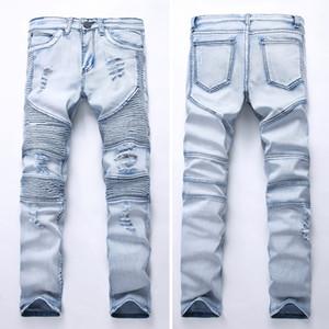 BIKER JEANS GD Männer drapierte Jeans Frühling und Herbst Lange Bleistift-Hosen Löcher Stretch Eng geschnittene dünne Kleidung tragen Hosen Taschen Entwurf