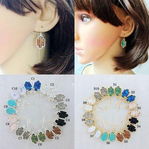 Boucles d'oreilles de luxe Druzy Chandelier en argent et or géométrique Pierre naturelle Dangle Earrings Pour femmes Mode Bijoux Accessoires