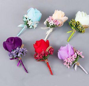 Rosa Blanca Flores Boda Padrino de Boda Broche Para Hombres Banquete de Boda Desgaste Decoración Novio Ramillete Accesorios Proveedor de Boda