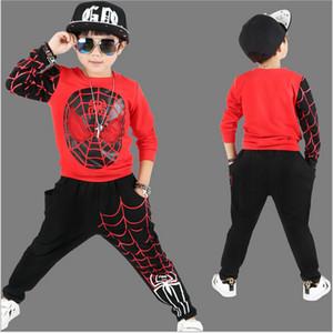 Nuevos juegos de ropa para niños pequeños de Spiderman Ropa deportiva de algodón para niños Ropa de primavera Hombre araña Cosplay Kits de ropa
