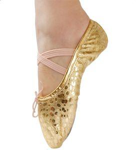 Filles PU Leahter Polka Dot En Cuir Ballet Pantoufles Enfants Belly Ballroom Split-sole Gymnastique Yoga Chaussures De Danse