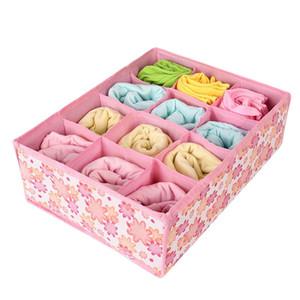 12 Grille Boîte de rangement non-tissé sac en tissu se pliant pour Bra Chaussettes organisateur Sous-vêtements pour le stockage d'impression en tissu