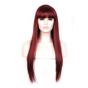 WoodFestival womens long straight hair wigs heat resistant synthetic fiber hair burgundy black brown flax wigs with bangs 70cm realistic sof
