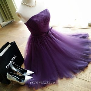 Real Photo Knee Length Short Bridesmaid Dress A Line Strapless Neckline Tulle Maid of Honor Dress Wedding Guest Gown Custom Made Plus Size